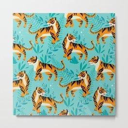 Yellow Tigers on Turquoise Metal Print