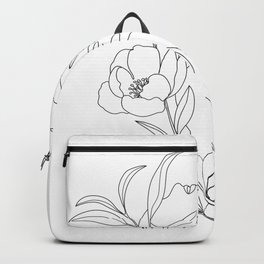 Minimal Line Art Woman with Peonies Backpack