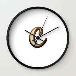 Chocolate Letter C Wall Clock