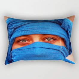 A portrait of a blue eyes lady with a blue desert scarf around her head in Egypt Rectangular Pillow
