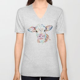 Manitoba Cow - Colorful Watercolor Painting Unisex V-Neck