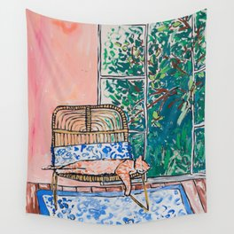 Napping Ginger Cat in Pink Jungle Garden Room Wall Tapestry