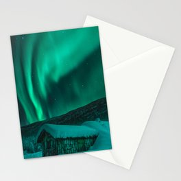Norway Photography - Limed Colored Northern Light In The Norwegian Winter Stationery Cards
