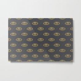 Magic Eye Pattern Gold Glamour Grey Metal Print