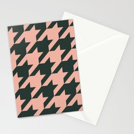 Houndstooth Emerald and Pink Pattern Stationery Cards