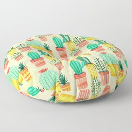 Hello! Colorful Watercolor Cactus and Succulent in Patterned Planters Floor Pillow