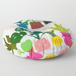 Plants on the Shelf in Gray + White Wood Floor Pillow