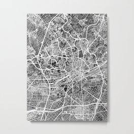 Frankfurt Germany City Map Metal Print