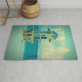 Beach Sunrise Lifeguard Hut Print Rug