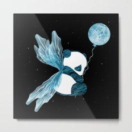 Space Angel Panda Bear - blue Metal Print