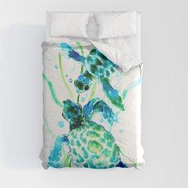 Sea Turtles, Turquoise blue Design Comforters