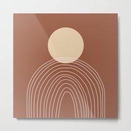 Hand drawn Geometric Lines in Terracotta and Beige Metal Print