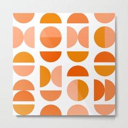 Mid Century Modern Tangerine Geometry Metal Print