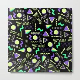 Geometrical retro lime green neon purple 80's abstract pattern Metal Print
