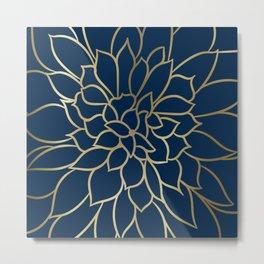 Floral Prints, Line Art, Navy Blue and Gold Metal Print