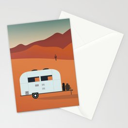 Camper in the Desert at Sunset Stationery Cards