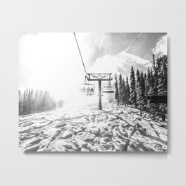 Powder on the Hill // Black and White Skilift Shot on a Deep Snowday Metal Print