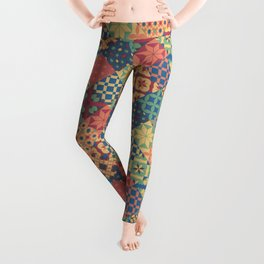 Leiden vintage cheater quilt colorful geometric design Leggings