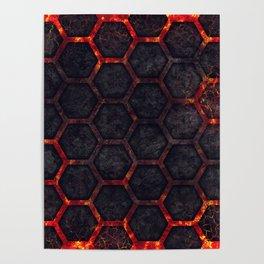 Lava Hexagons Poster