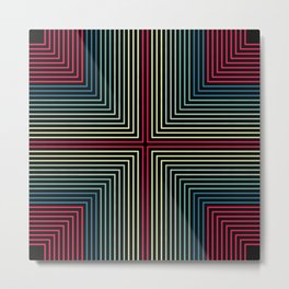 Symmetrical Lines Pattern in Pink, Blue and Green Metal Print