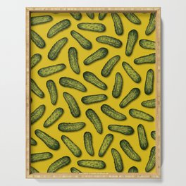 A Plethora Of Pickles - Green & Yellow Gherkin Pattern Serving Tray
