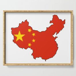 China Map with Chinese Flag Serving Tray