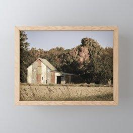 Patriotic Barn in Field Aged Effect Rural / Rustic Landscape Photo Framed Mini Art Print