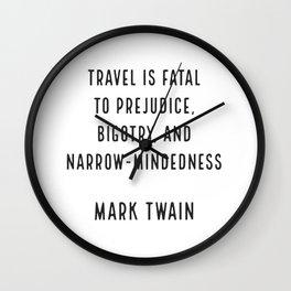 Mark Twain on Travel Wall Clock