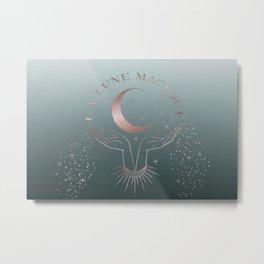 La Lune Magique Rosegold Teal Metal Print