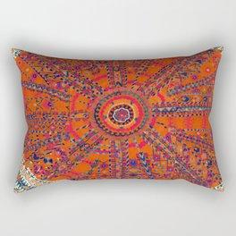 Orange Wildflower Sunshine II // 18th Century Colorful Rusty Red Bright Blue Metallic Happy Pattern Rectangular Pillow
