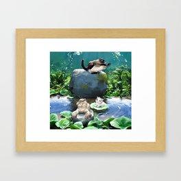 Bath time in the pond! Framed Art Print