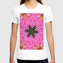 Pink Zinnia Kaleidoscope Mandala T-shirt