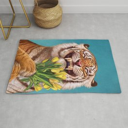 Smiling (shy) Tiger - holding bouquet (tulip) Rug