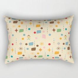 Atomic Pattern Beige Blue  #midcenturymodern Rectangular Pillow