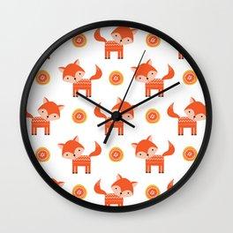 Orange Fox Wall Clock