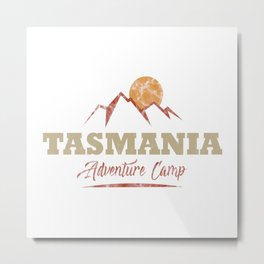 Tasmania Camping  TShirt Adventure Camp Shirt Camper Gift Idea Metal Print