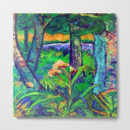 Otto Mueller Forest with Flowers and Pond Metal Print