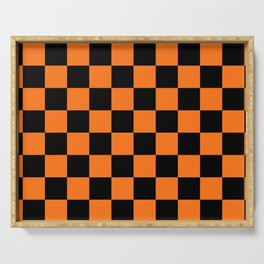 Halloween Orange and Black Checkerboard Pattern LG Serving Tray
