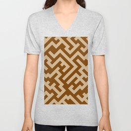 Tan Brown and Chocolate Brown Diagonal Labyrinth Unisex V-Neck