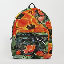Tulips On Fire Artistic Floral Flowerbed v2 Backpack
