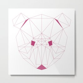 Minimalist Geometric Fuchsia Rose Line Art Scandinavian Style Bear Drawing Metal Print