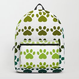 Shades of Green Paw Print Pattern Backpack