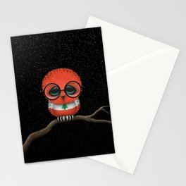 Baby Owl with Glasses and Lebanese Flag Stationery Cards