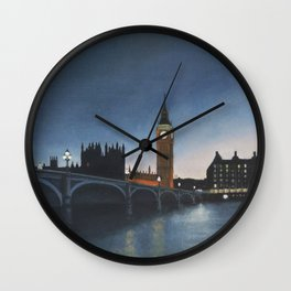 The Palace of Westminster London Oil on Canvas Wall Clock