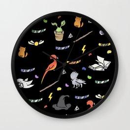 hp pattern magic doodles black Wall Clock