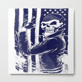 Skull Bike Rider Metal Print