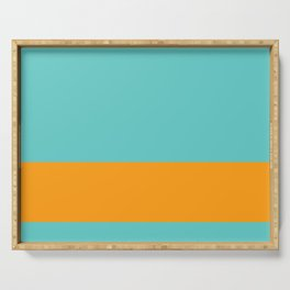 Squash Orange and Bright Aqua Cyan Blue-Green Turquoise Banded Solid - Minimalist Pattern Serving Tray