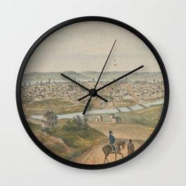Vintage Pictorial Map of Cincinnati OH (1841) Wall Clock