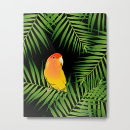 Lovebird Parrots in Green Palm Leaves on Black Metal Print