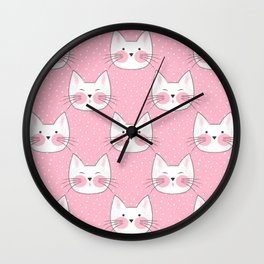 Cute Pink Kitty Cat Pattern Wall Clock